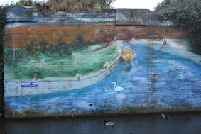 Great mural on the opposite bank